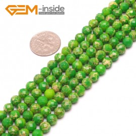 "G8002 6mm Round Green Faceted Sea Sediment Jasper Beads Dyed Color 15"" Beads for Jewelry Making Wholesale"