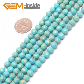 """G8004 6mm Round Sky Blue Faceted Sea Sediment Jasper Beads Dyed Color 15"""" Beads for Jewelry Making Wholesale"""
