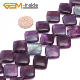 """G8021 16mm Square Wave Natural Fluorite Gemstone 15""""  Natural Stone Beads for Jewelry Making Wholesale"""