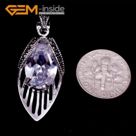G8059 15x40mm White Crystal Gemstone Tibetan Silver Base Marcasite Necklace Pendant Fashion Jewelry Jewellery