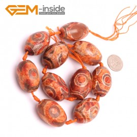 G8102 20x30mm Olivary Brick Red 10 Pcs Bamboo Column Rondelle Gemstone Vintage Dzi Tibet Agate DIY Loose Beads Natural Stone Beads for Jewelry Making Wholesale
