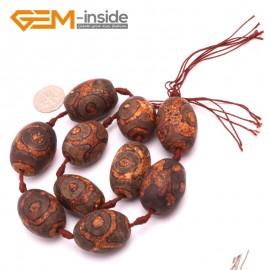 G8103 20x30mm Olivary Brown 10 Pcs Bamboo Column Rondelle Gemstone Vintage Dzi Tibet Agate DIY Loose Beads Natural Stone Beads for Jewelry Making Wholesale