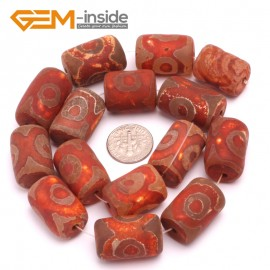 G8106 15x22mm Column 13 Pcs Rondelle Gemstone Vintage Dzi Tibet Agate DIY Loose Beads Natural Stone Beads for Jewelry Making Wholesale