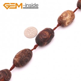 G8107 18x24mm 10 Pcs Olivary Bamboo Column Rondelle Gemstone Vintage Dzi Tibet Agate DIY Loose Beads Natural Stone Beads for Jewelry Making Wholesale