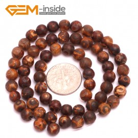 "G8118 6mm Round Gemstone Brown Vintage Dzi DIY Tibet Agate Crafts Making Beads Strand 15"" Natural Stone Beads for Jewelry Making Wholesale"