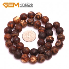 "G8120 10mm Round Gemstone Brown Vintage Dzi DIY Tibet Agate Crafts Making Beads Strand 15"" Natural Stone Beads for Jewelry Making Wholesale"