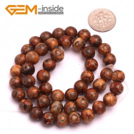 """G8122 8mm Round Gemstone Coffee Vintage Dzi Tibet Agate DIY Crafts Making Loose Beads 15"""" Natural Stone Beads for Jewelry Making Wholesale"""