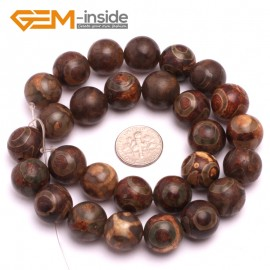 """G8125 14mm Round Gemstone Coffee Vintage Dzi Tibet Agate DIY Crafts Making Loose Beads 15"""" Natural Stone Beads for Jewelry Making Wholesale"""