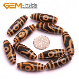 G8128 Orange&Black 10x30mm Olivary Gemstone Tibet Agate Dzi  DIY Crafts Making Loose Beads 10 Pcs Natural Stone Beads for Jewelry Making Wholesale