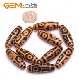G8129 Orange&Black 10x30mm Olivary Gemstone Tibet Agate Dzi  DIY Crafts Making Loose Beads 10 Pcs Natural Stone Beads for Jewelry Making Wholesale