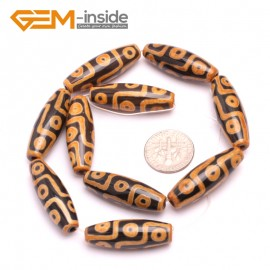G8130 Orange&Black 10x30mm Olivary Gemstone Tibet Agate Dzi  DIY Crafts Making Loose Beads 10 Pcs Natural Stone Beads for Jewelry Making Wholesale
