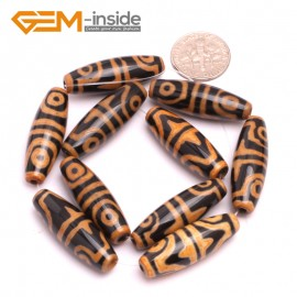 G8132 Orange&Black 10x30mm Olivary Gemstone Tibet Agate Dzi  DIY Crafts Making Loose Beads 10 Pcs Natural Stone Beads for Jewelry Making Wholesale