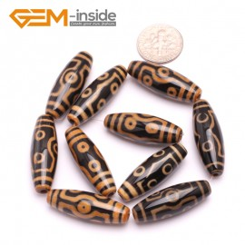G8133 Orange&Black 10x30mm Olivary Gemstone Tibet Agate Dzi  DIY Crafts Making Loose Beads 10 Pcs Natural Stone Beads for Jewelry Making Wholesale