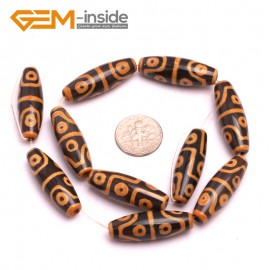 G8135 Orange&Black 10x30mm Olivary Gemstone Tibet Agate Dzi  DIY Crafts Making Loose Beads 10 Pcs Natural Stone Beads for Jewelry Making Wholesale
