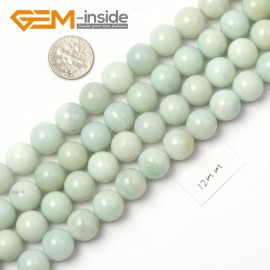 "G9048 12mm Round Smooth Blue Green Gemstone Amazonite Beads Strand 15"" Natural Stone Beads for Jewelry Making Wholesale"