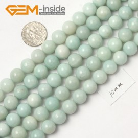 """G9049 10mm Round Smooth Blue Green Gemstone Amazonite Beads Strand 15"""" Natural Stone Beads for Jewelry Making Wholesale"""