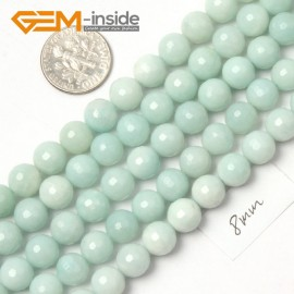 """G9058 8mm Natural Round Faceted Blue Green Amazonite Jewellery Making Gemstone Beads 15"""" Natural Stone Beads for Jewelry Making Wholesale"""