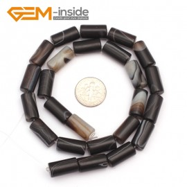 "G9308 8x16mm/Frosted/Black Banded Column Frosted Agate Loose Beads Jewelry Making Beads Strand 15"" Free Shipping Natural Stone Beads for Jewelry Making Wholesale"