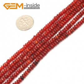 "G9331 2x4mm/Red Free Shipping Rondelle Gemstone Agate Beads Jewelry Making Loose Beads 15"" Natural Stone Beads for Jewelry Making Wholesale"
