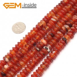 "G9333 4x10mm/Red Banded Free Shipping Rondelle Gemstone Agate Beads Jewelry Making Loose Beads 15"" Natural Stone Beads for Jewelry Making Wholesale"