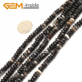 "G9334 2x6mm/Black Banded Free Shipping Rondelle Gemstone Agate Beads Jewelry Making Loose Beads 15"" Natural Stone Beads for Jewelry Making Wholesale"