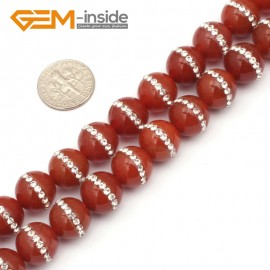 """G9347 12mm/Red New Arrivals Round Agate Gemstone Loose Beads with Rhinestones 15""""Free Shipping Natural Stone Beads for Jewelry Making Wholesale"""