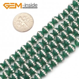 """G9348 6mm/Green New Arrivals Round Agate Gemstone Loose Beads with Rhinestones 15""""Free Shipping Natural Stone Beads for Jewelry Making Wholesale"""