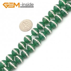 "G9350 10mm/Green New Arrivals Round Agate Gemstone Loose Beads with Rhinestones 15""Free Shipping Natural Stone Beads for Jewelry Making Wholesale"
