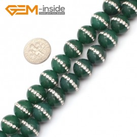 """G9351 12mm/Green New Arrivals Round Agate Gemstone Loose Beads with Rhinestones 15""""Free Shipping Natural Stone Beads for Jewelry Making Wholesale"""