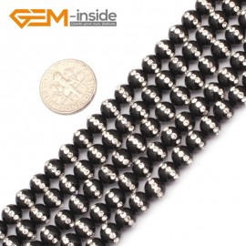 """G9352 6mm/Black New Arrivals Round Agate Gemstone Loose Beads with Rhinestones 15""""Free Shipping Natural Stone Beads for Jewelry Making Wholesale"""