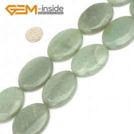 "G9374 Green Aventurine Jade 30x40mm Oval Gemstone Jewelry Making Loose Stone Beads Strand 15"" Natural Stone Beads for Jewelry Making Wholesale"