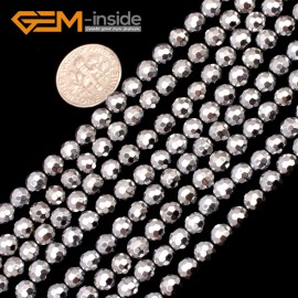 "G9561 6mm Round Sliver Faceted Hematite Beads Jewellery Making Gemstone Loose Beads 15"" Natural Stone Beads for Jewelry Making Wholesale"