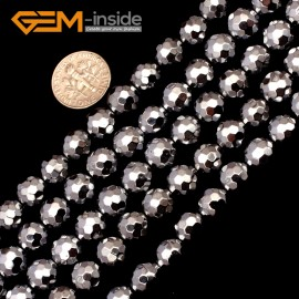 "G9563 10mm Round Sliver Faceted Hematite Beads Jewellery Making Gemstone Loose Beads 15"" Natural Stone Beads for Jewelry Making Wholesale"