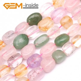"G9621 12x14mm Freeform Mixed Color Quartz Jewelry Making Gemstone Loose Beads15""Gbeads Natural Stone Beads for Jewelry Making Wholesale`"