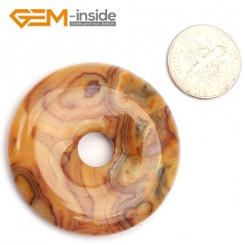 G9644 Cazay Lace Agate(40mm) Natural Ring Lucky Buckle Beads For Earrings and Pendants 1 pcs 30 40 50mm Pick Pendants Fashion Jewelry Jewellery