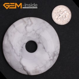 G9652 Howlite(50mm) Natural Ring Lucky Buckle Beads For Earrings and Pendants 1 pcs 30 40 50mm Pick Pendants Fashion Jewelry Jewellery