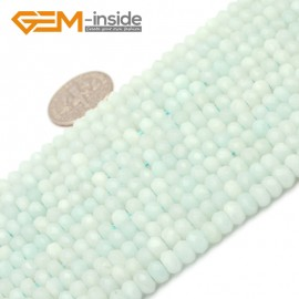"G9662 3x5mm Faceted Rondelle Natural Green Amazonite Stone Gemstone Beads Strand 15"" Natural Stone Beads for Jewelry Making Wholesale"