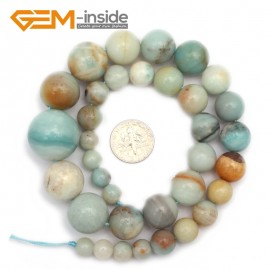 "G9678 8-20mm Multicolor Smooth Round Graduated Natural Amazonite Stone Beads Strand 15"" Natural Stone Beads for Jewelry Making Wholesale"