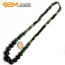 "G9700 6-14mm Moss Agate Graduated Gemstone Loose Beads Strand 15"" Natural Stone Beads for Jewelry Making Necklace Wholesale"