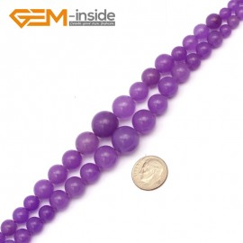 "G9710 6-14mm Purple Jade Graduated Gemstone Loose Beads Strand 15"" Stone Beads for Jewelry Making Necklace Wholesale"