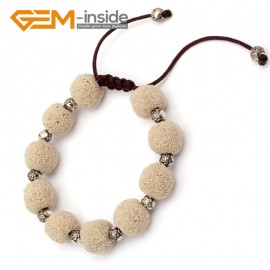 "G9741 Cream White Lava Rock Handmade Bead Bracelet Adjustable Bracelet 7-8.5""  Fashion Jewelry Jewellery Bracelets for women"