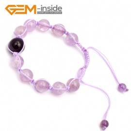 "G9792 10mm Natural Round Light Amethyst Bracelet Adjustable Bracelet 7 1/2"" Fashion Jewelry Jewellery Bracelets for women"