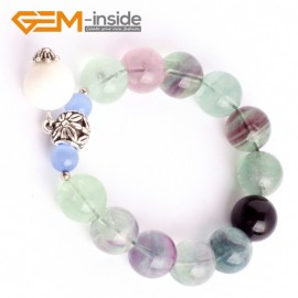 "G9913 14mm(With Tridacna and  Spacer) Handmade Natural Round Rianbow Fluorite Beads Stretchy Charm Bracelet 7 1/2"" Adjustable Gbeads Fashion Jewelry Jewellery Bracelets  for women"