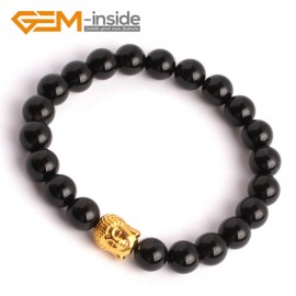 """G9920 8mm (With Gold Buddha ) Natural Round Black Agate Beads Handmade Stretchy Bracelet 7 1/2"""" Fashion Jewelry Jewellery Bracelets for women"""