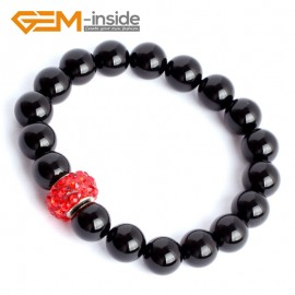 """G9921 10mm (With Red Spacer) Natural Round Black Agate Beads Handmade Stretchy Bracelet 7 1/2"""" Fashion Jewelry Jewellery Bracelets for women"""