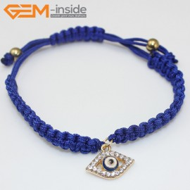 "EvilEye0015  Turkey Evil Eye Bracelet Handmade Blue Macrame Adjustable Bracelet 7"" Fashion Jewelry Bracelets for Women"