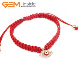 "EvilEye0016  Turkey Evil Eye Bracelet Handmade Red Macrame Adjustable Bracelet 7"" Fashion Jewelry Bracelets for Women"