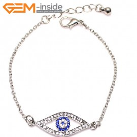 "EvilEye0021 Turkey Evil Eye Bracelet Handmade Crystal Adjustable Bracelet 7"" Fashion Jewelry Bracelets for Women"