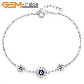"EvilEye0023 Turkey Evil Eye Bracelet Handmade Crystal Adjustable Bracelet 7"" Fashion Jewelry Bracelets for Women"