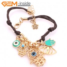"EvilEye0008  Turkey Evil Eye Bracelet Leather Handmade  Adjustable Bracelet 7"" Fashion Jewelry Bracelets for Women"